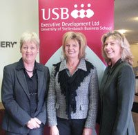The guest speaker at the launch was Prof Laetitia van Dyk (middle), who is also the newly appointed Director of the Leadership Centre at the USB. With her are Willemien Law of USB-ED and Sarah Riordan of HERS-SA. - USB-ED