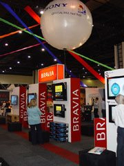 Volcano used their stand at the expo to convey the message that Sony is an official partner of the 2010 Soccer World Cup.