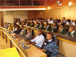 Learners from schools of Umzimvubu and Matatiele Municipalities at the Alfred Nzo District Municipality Council Chambers, attending the Media Literacy and Culture of Reading Summit.