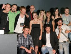 Kelvin Jonck from Cell C, Chris Colburn, Team Gloo and Studio 4332 winning best of show at The Bookmarks - Gloo