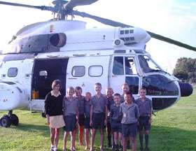 Young EW Gordon (second from left) invited his sister and nine of his closest friends to join him for a helicopter ride in an 8 ton Oryx.