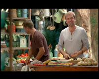 Ian Chuter films celebrity chefs Bill Granger and Justin Bonello for Woolworths