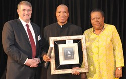 A momentous occasion for Vice-Chancellor Professor Malegapuru Makgoba who received the National Research Foundation's (NRF) Lifetime Achiever Award last night in Pretoria. Left: Dr Albert van Jaarsveld, NRF chief executive officer and the Minister of Science and Technology Naledi Pandor.