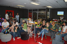 All geared up; staff await the screening of the Rugby World Cup Opening Ceremony