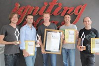Boomtown's Gary Welsh (copywriter), Jared Louw (account manager), Neil Hart (MD), Glen Meier (strategic director) and Andrew Mackenzie (creative director) show off their awards.