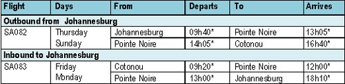 All times are local at departure/destination points.