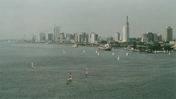 Lagos Island and part of Lagos Harbour, taken from close to Victoria Island, looking north-west. (Image: Benji Robertson, via Wikimedia Commons)