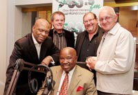 Deputy chairperson of East Rand Stereo, Dumisane Sikhwebu (front), Peermont Corporate Affairs & CSI executive, Vusi Zwane and the executive committee of the Ekurhuleni FM Board, Johan Smit, Frans Swart and Johann Krüger. Photo by Yolanda van der Stoep.