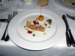 The first course: Compressed pork with apples and croissant crisp and paired with Paul Cluver Riesling.