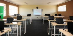 One of the upgraded Kwena Molapo High School classrooms, complete with upgraded technology
