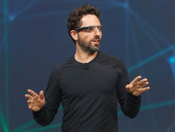 Google co-founder Sergey Brin touts the Project Glass computerised glasses. - NATIVE VML