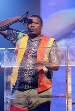 Isolezwe Journalist, Charles Khuzwayo, accepts his award at the SAMAs in East London on the weekend.