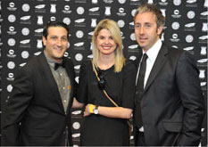 Paula Hulley and Alistair Irving from Gloo, with Kevin Fine from Jacaranda FM, on the Loeries red carpet