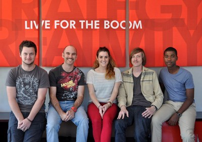 The winning team from l to r: Tim Jones, Andrew MacKenzie, Brittany Moore, Gary Welsh, Senzo Xulu - Boomtown