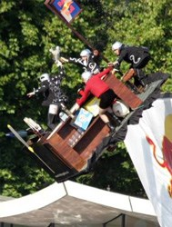 This picture of the 'Flying Pub' was taken at the Red Bull Flugtag 2003, Hyde Park, London, but you get the idea, right? (Image: Oliver Kreitman, via Wikimedia Commons)