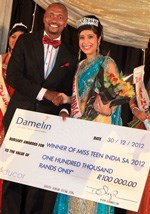 Sbongiseni Magwaza, general manager of Damelin Durban City, with Miss Teen India SA 2012 winner, Miss Lisha Narayan.