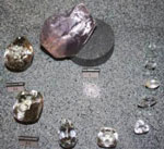 A replica Cullinan Diamond, with the nine stones it was cut into.
