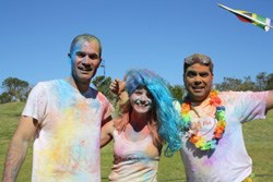 In photo from left is Algoa FM presenters Wayne Hart, Briony Sparg and Charlton Tobias having some color fun in the sun in anticipation of The Color Run taking place on 1 September