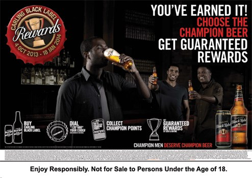 34 partners with Carling Black Label to launch SA's first ever consumer reward programme in beer!