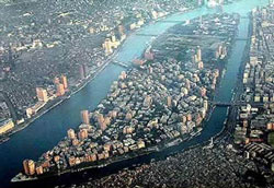 Cairo: An aerial photo of Zamalek, an affluent residential district in Greater Cairo. (Image: Attribution:  at , via Wikimedia Commons)