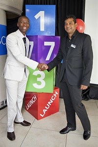 INTEC Brand Ambassador, Makhosi Khoza together with the CEO of INTEC College, Pranesh Rugnudan at the launch event.