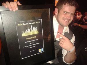 Alex McMaster after winning Best Programe Innovation award at MTN Radio Awards for 'Give Kili Horns' - Jacaranda 94.2 FM