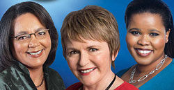 Lindiwe Mazibuko (rt) and Helen Zille (ctr) have both strongly denied any rift between them. (Image:  [image extracted from a DA election poster])