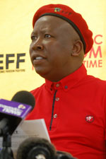Julius Malema, EFF leader, has threatened to lead a protest to the SABC and burn TV licences there. (Image: EFF)