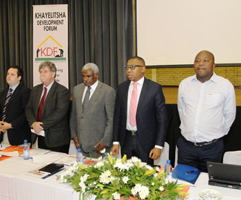 Garreth Bloor (Minister's Office Representative), Cassie Kruger (FBC Principal), Zozo Siyengo (Chief Director FETC), Deputy Minister: Higher Education and Training Mduduzi Manana, Ndithini Tyhido (KDF Chairperson)
