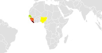 A map showing the spread of Ebola in 2014-15: The hardest-hit countries were Guinea, Liberia and Sierra Leone. Nigeria (yellow), was one of the countries in the region that experienced smaller numbers of transmissions. (Image: Public Domain)