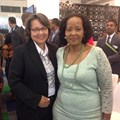 At the opening the WTM Africa 2015, Mayor of Cape Town Patricia de Lille and Deputy Minister of Tourism Tokozile Xasa.