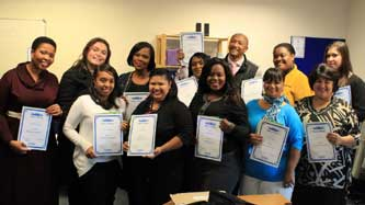 Oxbridge Academy's Student Services Department receiving their own service delivery recognition awards.