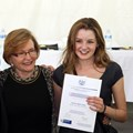 Jenna receiving an Award for Academic Excellence in December 2013 from Helen Zille and the Western Cape Education Department having achieved 7 distinctions for Matric and being one of the top 30 students