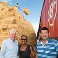 Aland Winde (Provincial Minister of Economic Development, Zukiswa Gaqavu (corporate affairs manager), Michiel Smuts (one of the farmers who has kindly donated some animal feed).