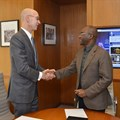 NBA commissioner Adam Silver (left) with Econet founder and executive chairman Strive Masiyiwa