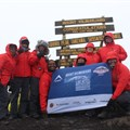 The team of eight, dressed head-to-toe in K-Way gear, spent five days on Kilimanjaro and successfully summited on day 5. Left to right: Bernadette Wagner, Geneve van Heerden, Warwick Wragg, Clive Meyer, Simone Sulcas, Grizelle Grobbelaar, Deon Barnard and Ryan Weideman.