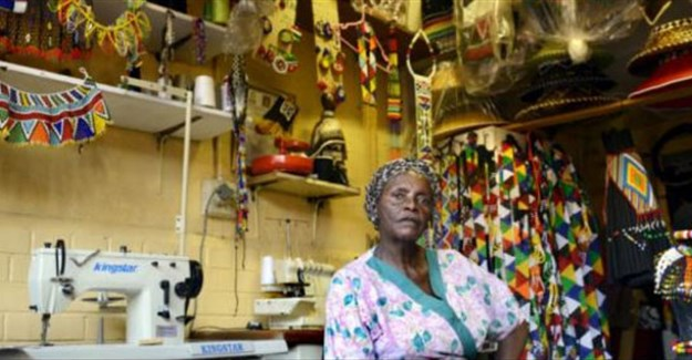 Viginia Mlotshwa, 67 - a traditional designer at Kwa Mai Mai market in Johannesburg. Image source © Nhlanhla Phillips –