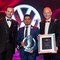 Thomas Schaefer, chairman and MD of Volkswagen Group South Africa and Stefan Mecha, director of sales and marketing at Volkswagen Group South Africa with Kevin Pillay of Barons Volkswagen Pietermaritzburg.