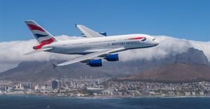 British Airways A380 over Cape Town