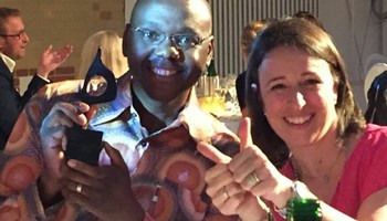 Magna Carta CEO, Vincent Magwenya, celebrates in Berlin last night