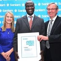 (L-R) Margaret Dawes, Sanlam Emerging Markets; winner Allan Odhiambo, Business Daily; Desmond Smith, Sanlam Chairman