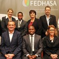 Seated row from left to right: Ruth Kamau (Small Accommodation segment Chair), Rob Kucera (FEDHASA Cape Chairperson), Tshifhiwa Tshivhengwa (National CEO), Karin Augustyn (Trusted Partners segment Alternate), Noli Mini (Young Professionals segment Chair)