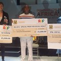 Innovation Prize for Africa winners: (L-R): Dr Imogen Wright, Dr Eddy Agbo, Dr Achidi Valentin Agon.