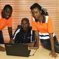 Intern, Shirley Mbazima with UAS HR manager, Thamie Nyoni and operations manager, Sidney Sephoka