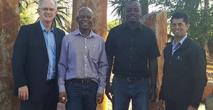Sealing the deal for Pyrotec PackMark's Botswana distributor is Rowan Beattie, Pyrotec's Managing Director; Victor Maunze, IK&N's owner; Farai Zinyama, IK&N's sales and technical manager; and Brandon Pearce, Pyrotec PackMark's General Manager.