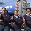 Engen women drivers at Langlaagte Depot: Palesa Modiselle, Tebogo Sekowe and Nomagugu Dlamini