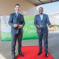 Lebogang Maile, MEC for Gauteng Department of Economic, Environment, Agriculture and Rural Development, and Alan Thompson, Regional Senior Vice President-Africa for RB South Africa officially declare the newly upgraded Dettol Antiseptic Liquid Plant open, as of 11 August 2016.