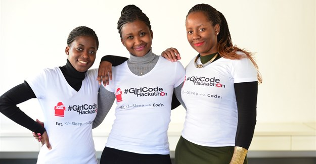 GirlCode founders from left: Jeanette Theu, Tinyiko Simbine and Zandile Keebine.