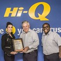 From left: Jaco vd Merwe, owner of Hi-Q Croydon; Maria Petousis, director of TGI handing over the award to Sean Harrison MD Hi-Q automotive and Dominic Mphasa Hi-Q retail marketing coordinator.