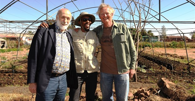 Carlo Petrini, Phila Cele and Geoff Green. Pic by Malcolm Drummond